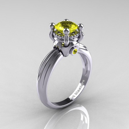 Classic Victorian 14K White Gold 1.0 Ct Yellow Sapphire Solitaire Engagement Ring R506-14KWGYS