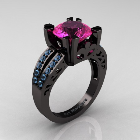 Modern-Vintage-14K-Black-Gold-3-Ct-Pink-Sapphire-Aquamarine-Solitaire-Ring-R102-14KFBGAQPS-P