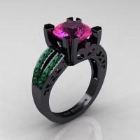 Modern Vintage 14K Black Gold 3.0 Carat Pink Sapphire Emerald Solitaire Ring R102-14KBGEMPS