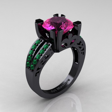 Modern-Vintage-14K-Black-Gold-3-Ct-Pink-Sapphire-Emerald-Solitaire-Ring-R102-14KBGEMPS-P