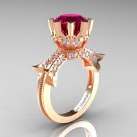 Modern Vintage 14K Rose Gold 3.0 Ct Garnet Diamond Solitaire Engagement Ring R253-14KRGDG