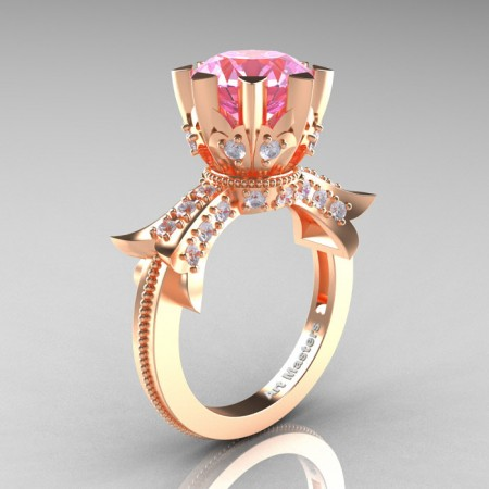 Modern-Vintage-14K-Rose-Gold-3-Ct-Light-Pink-Sapphire-Diamond-Solitaire-Ring-R253-RGDLPS-P