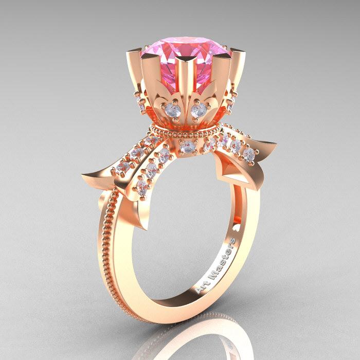 d2b9ba60f6e269 Modern-Vintage-14K-Rose-Gold-3-Ct-Light-. Modern Vintage 14K Rose Gold 3.0  Ct Light Pink Sapphire Diamond Solitaire Engagement Ring ...