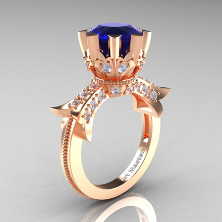 Modern-Vintage-14K-Rose-Gold-3-Ctt-Blue-Sapphire-Diamond-Solitaire-Ring-R253-RGDBS-P
