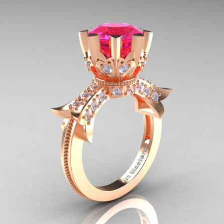 Modern-Vintage-14K-Rose-Gold-3-Ctt-Pink-Sapphire-Diamond-Solitaire-Ring-R253-RGDPS-P
