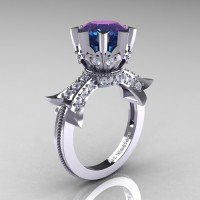 Modern Vintage 14K White Gold 3.0 Ct Alexandrite Diamond Solitaire Engagement Ring R253-14KWGDAL