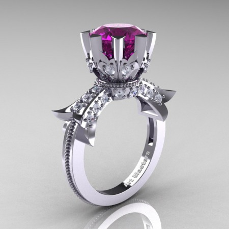 Modern-Vintage-14K-White-Gold-3-Ct-Amethyst-Diamond-Solitaire-Ring-R253-WGDAM-P