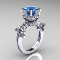 Modern Vintage 14K White Gold 3.0 Ct Aquamarine Diamond Solitaire Engagement Ring R253-14KWGDAQ