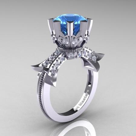 Modern-Vintage-14K-White-Gold-3-Ct-Aquamarine-Diamond-Solitaire-Ring-R253-WGDAQ-P