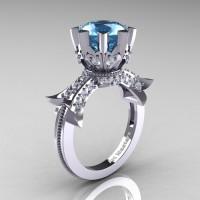 Modern Vintage 14K White Gold 3.0 Ct Blue Topaz Diamond Solitaire Engagement Ring R253-14KWGDBT