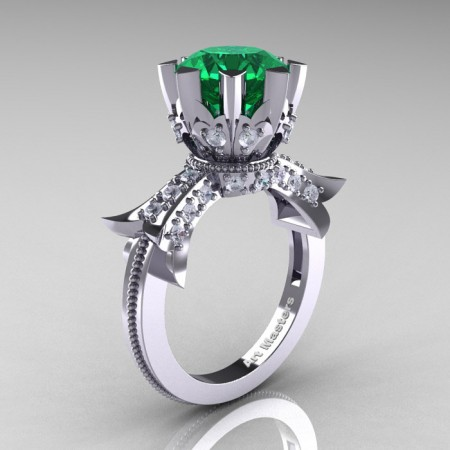 Modern-Vintage-14K-White-Gold-3-Ct-Emerald-Diamond-Solitaire-Ring-R253-WGDEM-P