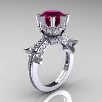 Modern Vintage 14K White Gold 3.0 Ct Garnet Diamond Solitaire Engagement Ring R253-14KWGDG