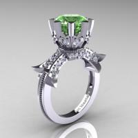 Modern Vintage 14K White Gold 3.0 Ct Green Topaz Diamond Solitaire Engagement Ring R253-14KWGDGT