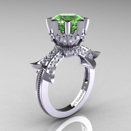 Modern-Vintage-14K-White-Gold-3-Ct-Green -Topaz-Diamond-Solitaire-Ring-R253-WGDGT-P