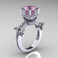 Modern Vintage 14K White Gold 3.0 Ct Light Pink Sapphire Diamond Solitaire Engagement Ring R253-14KWGDLPS