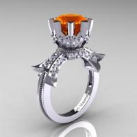 Modern Vintage 14K White Gold 3.0 Ct Orange Sapphire Diamond Solitaire Engagement Ring R253-14KWGDOS
