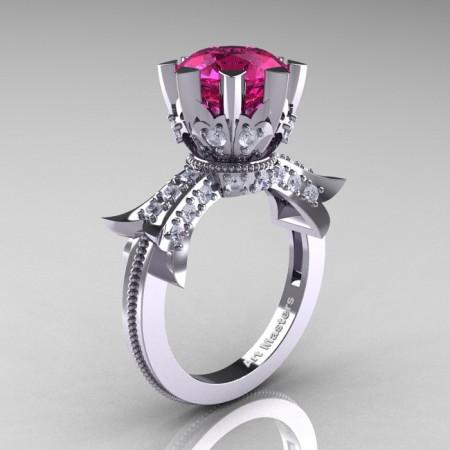 Modern-Vintage-14K-White-Gold-3-Ct-Pink-Sapphire-Diamond-Solitaire-Ring-R253-WGDPS-P