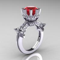 Modern Vintage 14K White Gold 3.0 Ct Ruby Diamond Solitaire Engagement Ring R253-14KWGDR