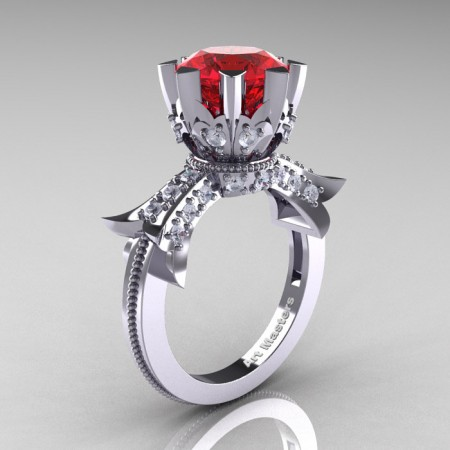 Modern-Vintage-14K-White-Gold-3-Ct-Ruby-Diamond-Solitaire-Ring-R253-WGDR-P