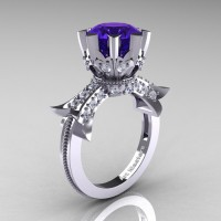 Modern Vintage 14K White Gold 3.0 Ct Tanzanite Diamond Solitaire Engagement Ring R253-14KWGDTA