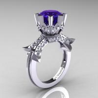 Modern Vintage 14K White Gold 3.0 Ct Tanzanite Diamond Solitaire Engagement Ring R253-14KWGDTA