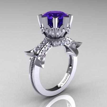 Modern-Vintage-14K-White-Gold-3-Ct-Tanzanite-Diamond-Solitaire-Ring-R253-WGDTA-P