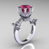 Modern Vintage 14K White Gold 3.0 Ct Tourmaline Diamond Solitaire Engagement Ring R253-14KWGDTU