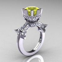 Modern Vintage 14K White Gold 3.0 Ct Yellow Topaz Diamond Solitaire Engagement Ring R253-14KWGDYT