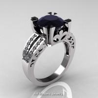Modern Vintage 950 Platinum 3.0 Carat Black and White Diamond Solitaire Ring R102-PLATDBD