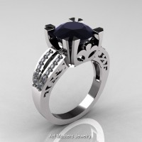 Modern Vintage 14K White Gold 3.0 Carat Black and White Diamond Solitaire Ring R102-14KWGDBD