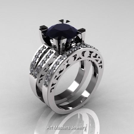 Modern-Vintage-14K-White-Gold-Black-White-Diamond-Solitaire-Ring-Wedding-Band-Set-R102S-WGDBD-P