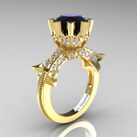 Modern-Vintage-14K-Yellow-Gold-3-Ct-Black-and-White-Diamond-Solitaire-Ring-R253-YGDBD-P
