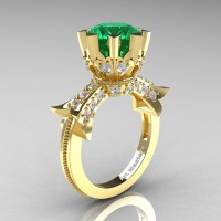 Modern Vintage 14K Yellow Gold 3.0 Ct Emerald Diamond Solitaire Engagement Ring R253-14KYGDEM