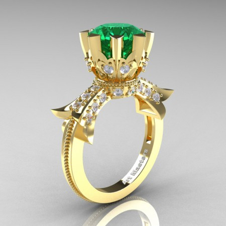 Modern-Vintage-14K-Yellow-Gold-3-Ct-Emerald-Diamond-Solitaire-Ring-R253-YGDEM-P