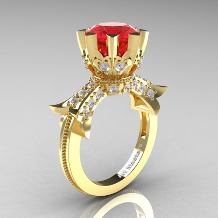 Modern-Vintage-14K-Yellow-Gold-3-Ct-Ruby-Diamond-Solitaire-Ring-R253-YGDR-P