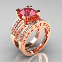 Modern Vintage 14K Rose Gold 3.0 Carat Light Tourmaline Diamond Solitaire Ring and Wedding Band Bridal Set R102S-14KRGDLT