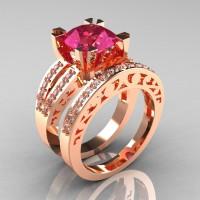 Modern Vintage 14K Rose Gold 3.0 Carat Tourmaline Diamond Solitaire Ring and Wedding Band Bridal Set R102S-14KRGDT