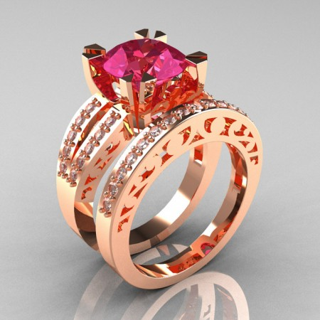 Modern-Vintage-14k-Rose-Gold-Tourmaline-Diamond-Solitaire-Ring-Wedding-Band-Set-R102S-RGDTSET-P