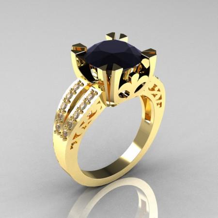 Modern-Vintage-14k-Yellow-Gold-3-0-Carat-Black-White-Diamond-Solitaire-Ring-R102-YGDBD-P3