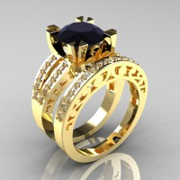 Modern Vintage 14K Yellow Gold 3.0 Carat Black and White Diamond Solitaire Ring Wedding Band Set R102S-14KYGDBD