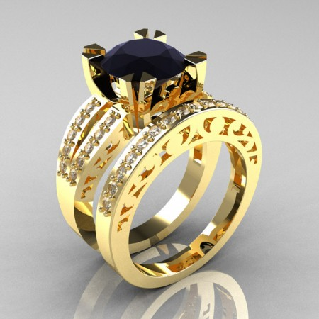 Modern-Vintage-14k-Yellow-Gold-Black-White-Diamond-Solitaire-Ring-Wedding-Band-Set-R102S-YGDBD-SET-P
