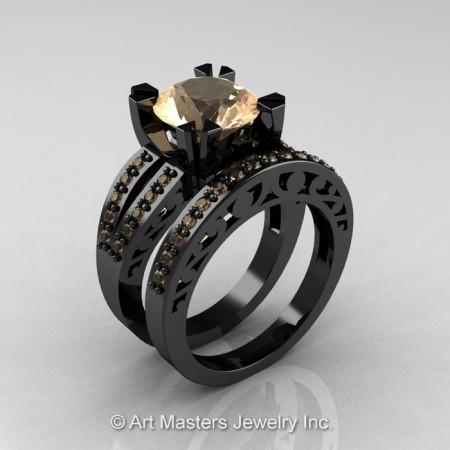Modern-Vintage-Black-Gold-Champagne-Diamond-Solitaire-Ring-R102-WGCD–SET-P2