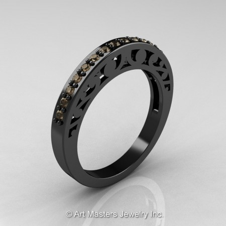 Modern-Vintage-Black-Gold-Champagne-Diamond-Wedding-Band-R102B-BGCD-P2