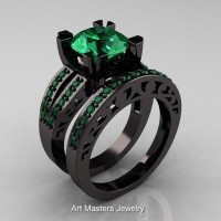 Modern Vintage 14K Black Gold 3.0 Carat Emerald Solitaire and Wedding Ring Bridal Set R102S-14KBGEM