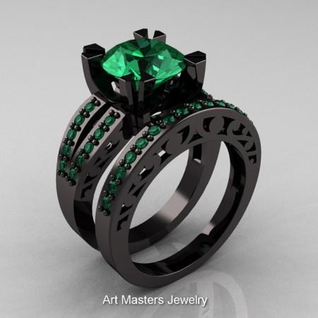 Modern-Vintage-Black-Gold-Emerald-Solitaire-Ring-Wedding-Band-Set-R102S-BGEM-SET-P