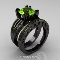 Modern Vintage 14K Black Gold 3.0 Carat Peridot Solitaire and Wedding Ring Bridal Set R102S-14KBGP