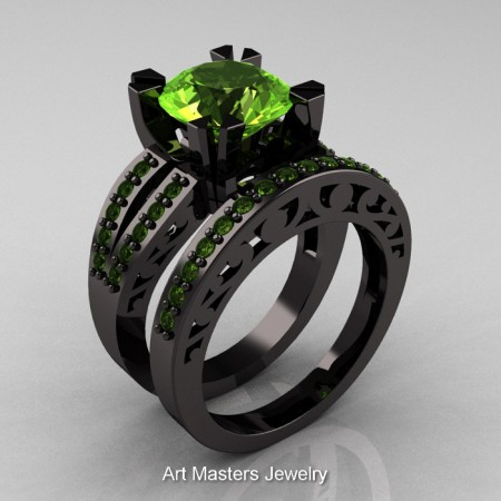 Modern-Vintage-Black-Gold-Peridot-Solitaire-Ring-Wedding-Band-Set-R102S-BGP-SET-P
