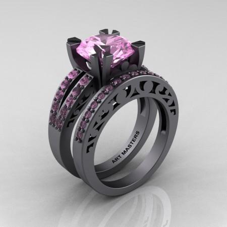 Modern-Vintage-Gray-Gold-Black-Aquamarine-Solitaire-Ring-Wedding-Ring-Set-R102S-GGAQ-P
