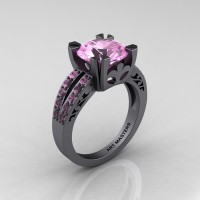 Modern Vintage 14K Gray Gold 3.0 Carat Light Pink Sapphire Solitaire Ring R102-14KGGLPS