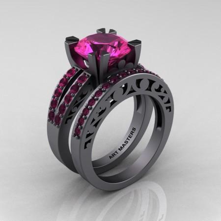 Modern-Vintage-Gray-Gold-Black-Pink-Sapphire-Solitaire-Ring-Wedding-Band-Set-R102S-GGPS-P